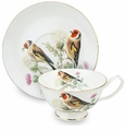 Red Bird Bone China Tea Cup & Saucer Set