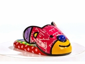 Romero Britto Polyresin Bear Slipper Shoe Figurine