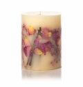 """Rosy Rings Apricot & Rose 6.5"""" Tall Round Botanical Candle"""