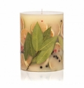 """Rosy Rings Bay Garland 6.5"""" Tall Round Botanical Candle"""
