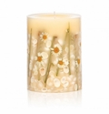 """Rosy Rings Beach Daisy 6.5"""" Tall Round Botanical Candle"""