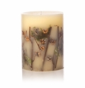 """Rosy Rings Forest 9.5"""" Tall Big Round Botanical Candle"""