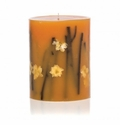 """Rosy Rings Honey Tobacco 9"""" Tall Big Round Botanical Candle"""