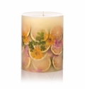 """Rosy Rings Lemon Blossom & Lychee 9.5"""" Tall Round Botanical Candle"""