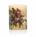 """Rosy Rings Roman Lavender 9"""" Tall Big Round Botanical Candle"""