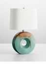 Round Oh Blue Ceramic Table Lamp by Cyan Design