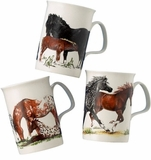 Roy Kirkham Horses Bone China Mugs - Set of 3