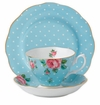 Royal Albert 3-Piece Set (Teacup, Saucer & Plate) Polka Blue