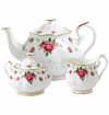 Royal Albert 3-Piece Set (Teapot, Sugar & Creamer) New Country Roses White