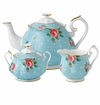 Royal Albert 3-Piece Set (Teapot, Sugar & Creamer) Polka Blue
