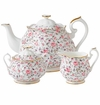 Royal Albert 3-Piece Set (Teapot, Sugar & Creamer) Rose Confetti