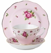 Royal Albert 3-Piece Tea Set (Teacup, Saucer & Plate) New Country Roses Pink