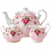 Royal Albert 3-Piece Teapot Set (Teapot, Sugar & Creamer) New Country Roses Pink