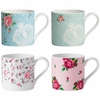 Royal Albert Mugs Set/4 New Country Roses Pink, Polka Blue, Polka Rose & Rose Confetti