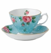Royal Albert Teacup & Saucer Set Polka Blue