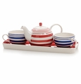 Scarlet & Blue Stripes Tea for Two Set with Tray by Hues and Brews