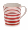 Scarlet Red Stripes Coffee Mugs (4) by Hues and Brews