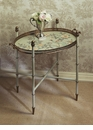 Seafoam Floral Iron Tray & Stand Home Decor