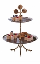 Silver And Brass Leaf 2 Tier Server Home Decor