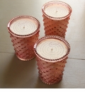 Simpatico Hobnail Glass Candle - 16 Oz Coral