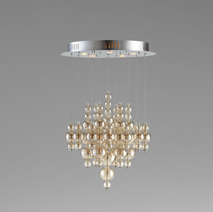 Small Brown Glass Bubbles Pendant Light by Cyan Design