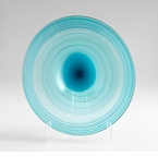 Small Record Blue Art Glass Plate by Cyan Design