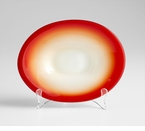 Small Red Art Glass Vermillion Plate by Cyan Design