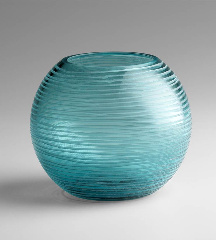 Small Round Aqua Glass Vase By Cyan Design