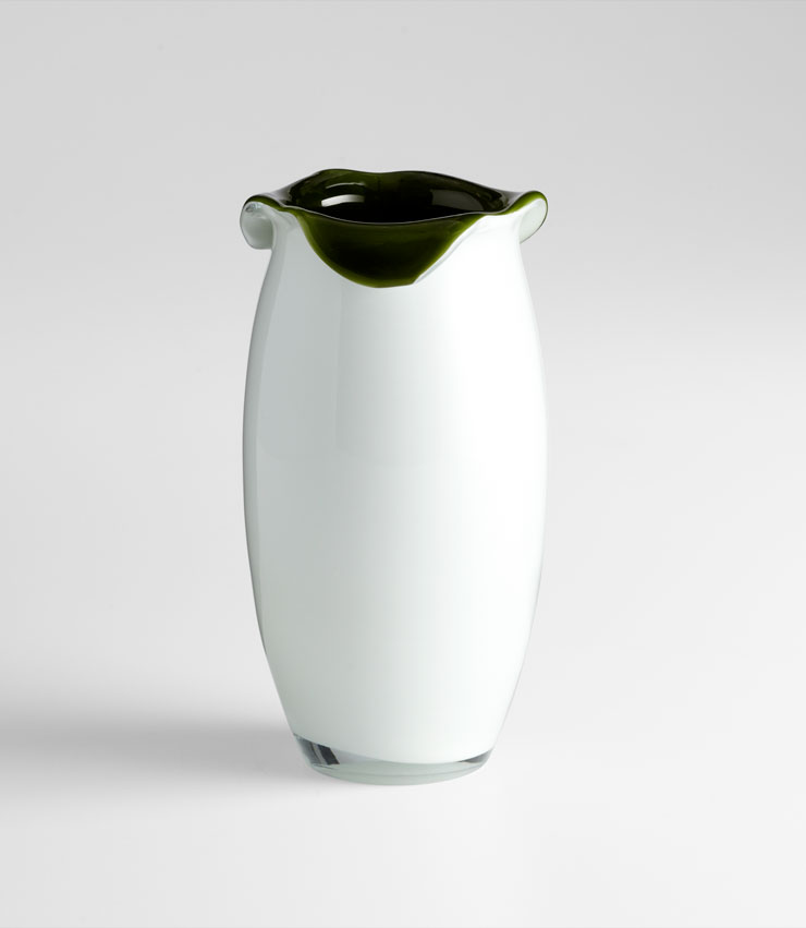 Small Villasa Olive Green Glass Vase by Cyan Design