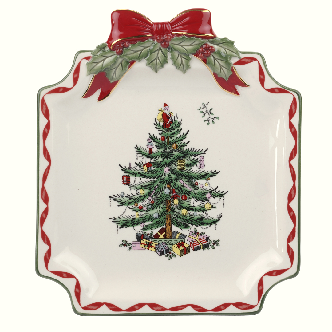 Spode Christmas Tree Candle Holder: Spode Christmas Tree Gold Ribbons Canapé Plate