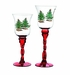 Spode Christmas Tree Red Fluted Footed Candle Holders Set of 2