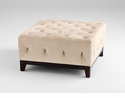Square Beige Ottoman by Cyan Design