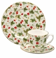 Strawberry Chintz Bone China Tea Cup & Saucer Set
