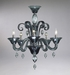 Treviso 5 Light Indigo Smoke Glass Chandelier by Cyan Design