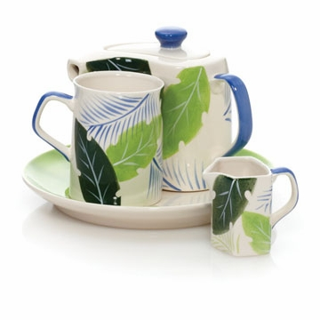 Tropical Leaves Tea or Coffee Service for One Set by Hues and Brews