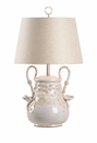 Vietri Aged Cream Ceramic Vineyard Lamp with Grape Design
