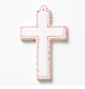 Vietri Croce Pink Ceramic Cross Ornament