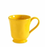 "Vietri Fantasia Yellow Footed Mug 4.25""H, 12 oz"