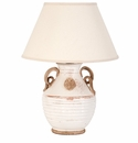 Vietri Rustic Collection White Emblem Lamp with Raw Handles