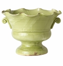 Vietri Rustic Garden Pistachio Large Scalloped Footed Cachepot