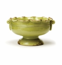 Vietri Rustic Garden Pistachio Small Scalloped Footed Cachepot