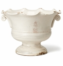 Vietri Rustic Garden White Large Scalloped Footed Cachepot