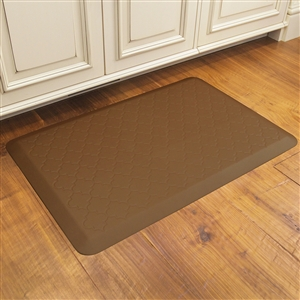 Wellnessmats Cushioned Kitchen Floor Mat Tan Trellis 3