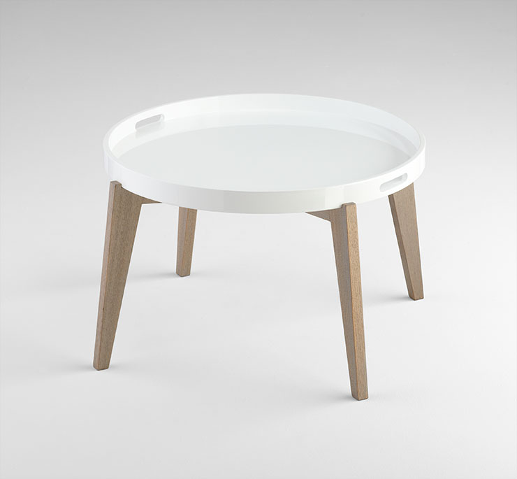 White Lacquered Wood Round Coffee Table By Cyan Design