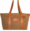 White Wing Leather & Canvas Medium Tote