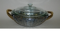 Woven Aluminum Round Covered Pyrex Casserole with Brass Home Decor