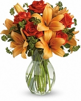Fiery Lily and Rose Floral Bouquet