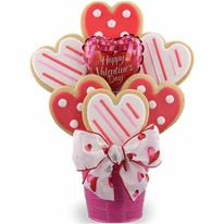 Valentine Hearts Cookie Bouquet