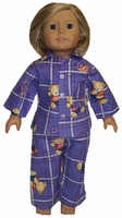 American Girl Doll Beary Cute Purple Pajamas