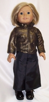 American Girl Doll Black Skirt and Bronze Top